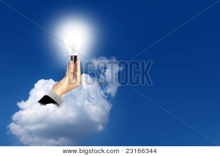 Bulb light in business hand