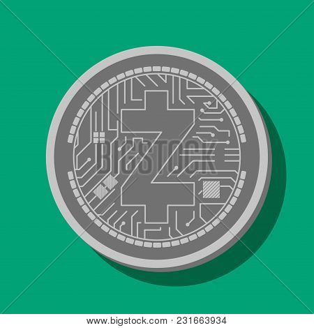 Coin Of Crypto Currency Zcash, Drawn In Vector
