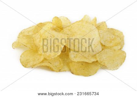 Crispy Potato Chips With Rosemary On Background