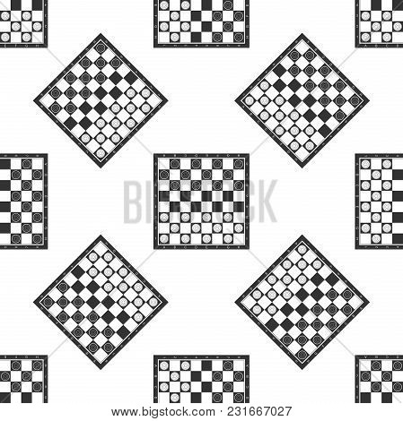 Board Game Of Checkers Icon Seamless Pattern On White Background. Ancient Intellectual Board Game. C