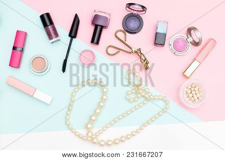 Set Of Professional Decorative Cosmetics And Pearls. Flat Lay
