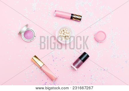 Decorative Cosmetics Of Pink Color On A Background Of Pink Color. Flat Lay