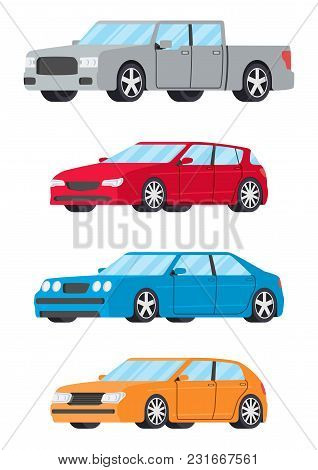 Set Of Cars Side View Different Colors. Hatchback Sedan Truck Car Icon Detailed. Vector Illustration
