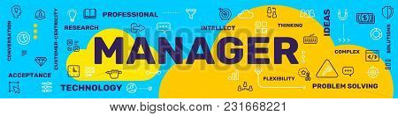 Profession Manager Concept. Vector Creative Illustration Of Manager Word Lettering Typography With L