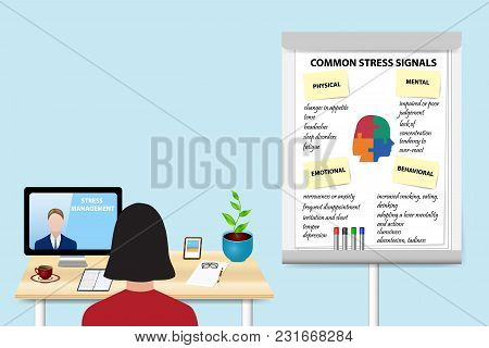 Woman Is Educating In Stress Management By A Man Communicating With Her From A Pc Standing On The Ta