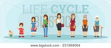 Character Of A Woman In Different Ages. A Baby, A Child, A Teenager, An Adult, An Elderly Person. Th