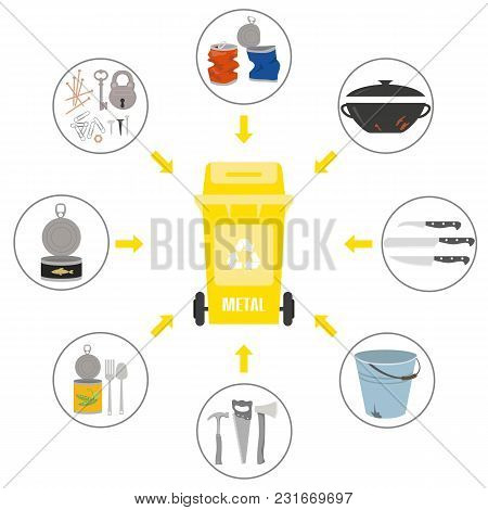 Container With Metal Trash On White Background. Ecology And Recycle Concept. Vector Illustration.