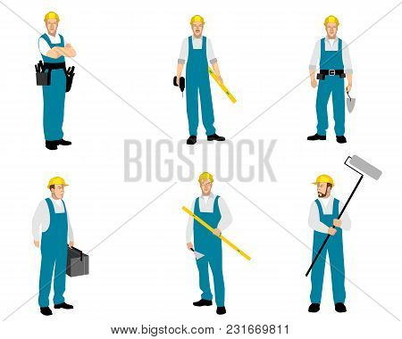 Vector Illustration Of Set Of Six Builders Finishers
