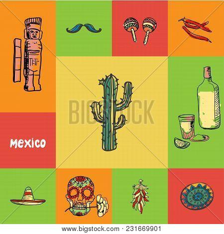 Mexico Checkered Concept In National Colors. Cactus, Tequila, Chilli Pepper, Maracas, Mustache, Monu