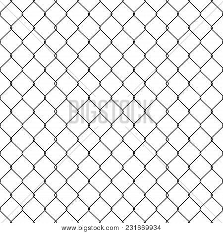 Metallic Wired Fence Seamless Pattern Isolated On White Background. Steel Wire Mesh. Vector Illustra