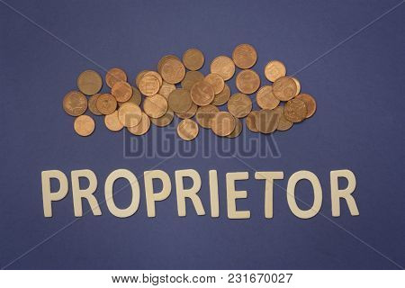 Proprietor Written With Wooden Letters On A Blue Background To Mean A Business Concept