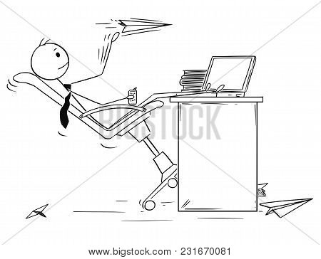 Cartoon Stick Man Drawing Conceptual Illustration Of Bored Businessman Throwing Paper Airplanes At W