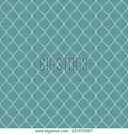 Metallic Wired Fence Seamless Pattern Isolated On Blue Background. Steel Wire Mesh. Vector Illustrat