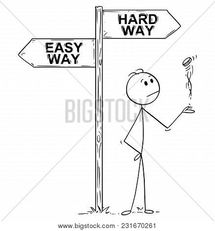 Cartoon Stick Man Drawing Conceptual Illustration Of Businessman Making Decision By Tossing, Flippin