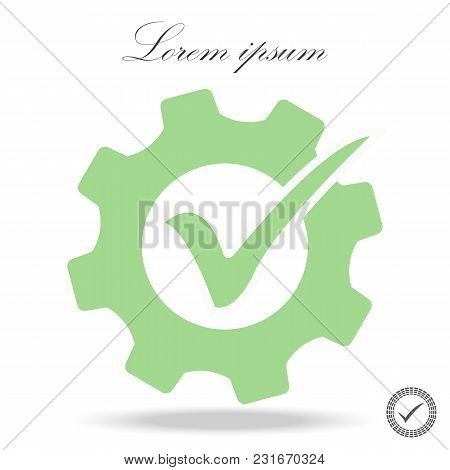 Quality Icon. Flat Grey Pictogram Symbol Inside A Light Green Rounded Square. Green Color Additional