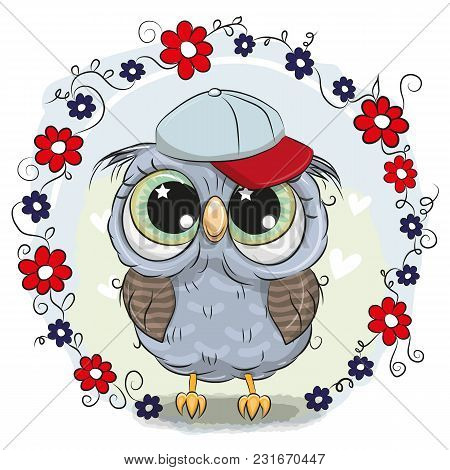 Greeting Card Cute Cartoon Owl With Flowers