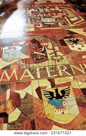Nazareth, Israel - September 21, 2017: Floor In The Basilica Of The Annunciation