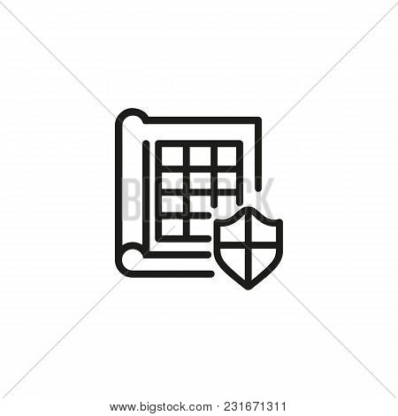 Book And Shield Line Icon. Document, Security, Safety. Data Protection Concept. Can Be Used For Topi
