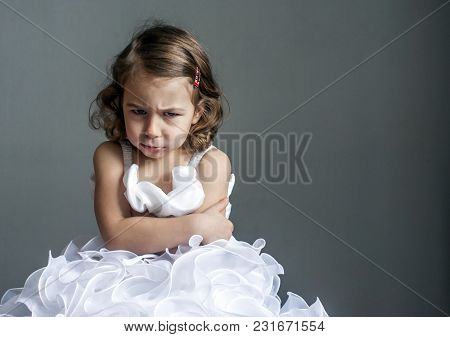 Little Princess In A Bad Mood. Children's Emotions: Resentment,