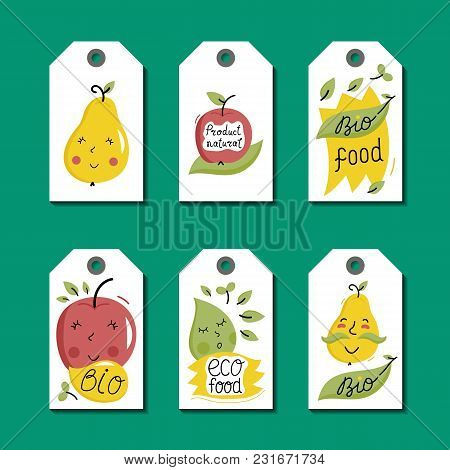 Eco And Bio Food Labels Set Isolated On Green Background. Natural Farm Products Price Tags For Organ