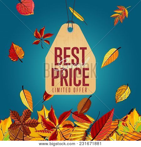 Autumn Seasonal Sale Badge, Vector Illustration. Best Special Price, Limited Offer Label In Vintage