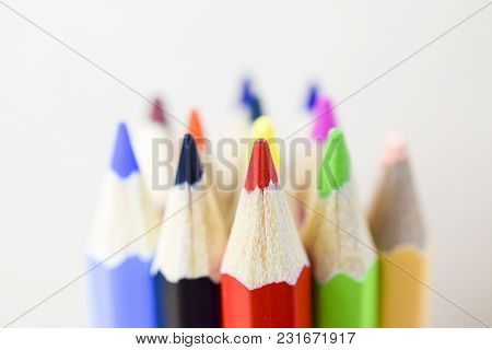 Multicolored Pencils On A White Background - Back To School Concept - Closeup
