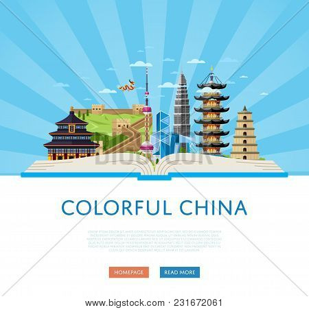 Colorful China Poster, Vector Illustration. Open Big Book With Famous Traditional And Modern Asian B