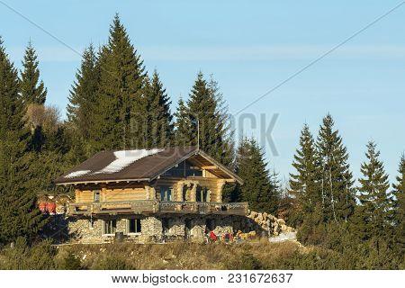 Cheile Gradistei - December 24, 2016: Wooden Chalet In The Resort Cheile Gradistei, Brasov County, R