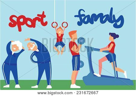 Sport Family. Mother Running On Treadmill, Father Practicing With Dumbbells, Son Hanging On Rings, G