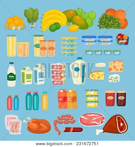 Daily Food Products Icons. Fruits, Preserves, Dairy Products, Juices In Pack And Bottles, Jams, Meat