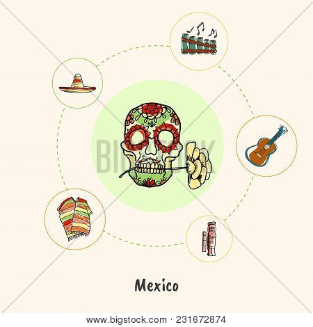 Attractive Mexico. Skull With Flower Colored Doodle Surrounded Guitar, Flute, Sombrero, Poncho, Maya