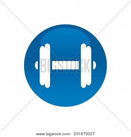 Circle With Dumbell, Gym, Workout Symbol Illustration