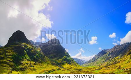 Glencoe Or Glen Coe Mountains And Pass, Panoramic View Landscape In Lochaber, Scottish Higlands,scot
