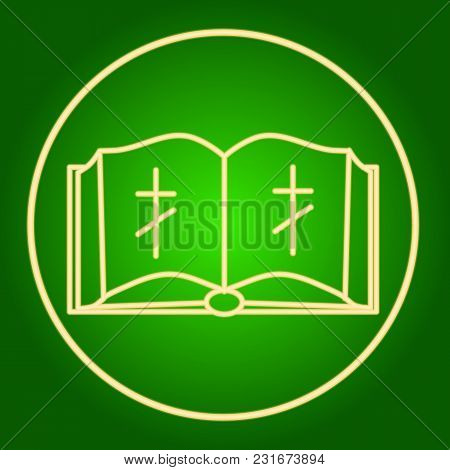 An Open Bible With A Christian Cross In The Neon Circle. Easter. Neon Icon. Neon Sign. Effect Of Neo