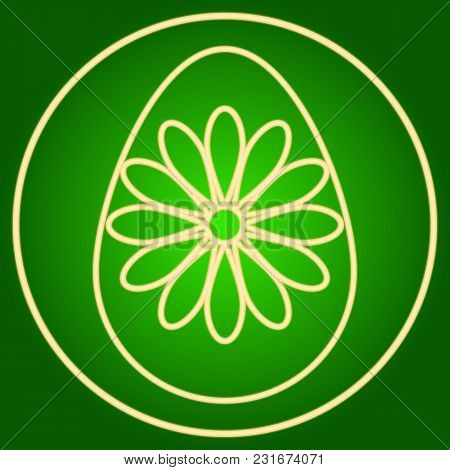 Egg With A Flower In A Neon Circle. Easter. Neon Icon. Neon Sign. Effect Of Neon Glow. Vector Image.