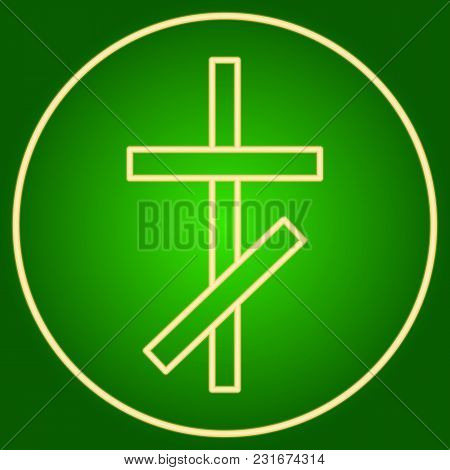The Christian Cross In The Neon Circle. Easter. Neon Icon. Neon Sign. Effect Of Neon Glow. Vector Im
