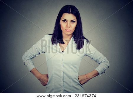 Angry Serious Brunette Woman Looking At Camera