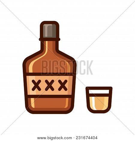 Cartoon Bottle Of Liquor And Shot Glass Icon. Shiny Flat Vector Illustration, Alcohol Icon.