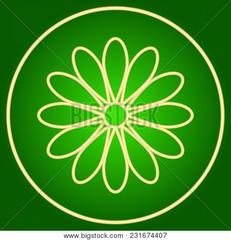 A Flower In A Neon Circle. Easter. Neon Icon. Neon Sign. Effect Of Neon Glow. Vector Image.