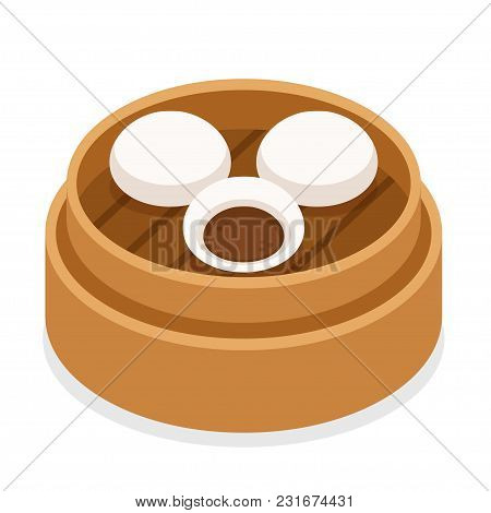 Dim Sum, Traditional Chinese Steamed Buns With Pork Filling. Asian Food Vector Illustration.