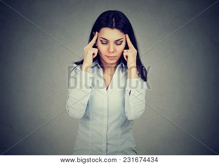 Sad Young Woman With Worried Stressed Face Expression Having Headache