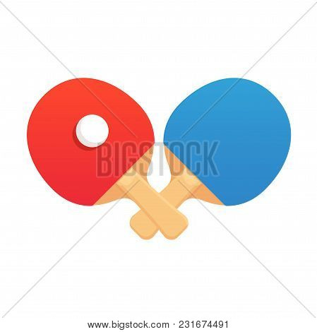 Two Crossed Ping Pong Rackets With Ball, Flat Cartoon Vector Style. Table Tennis Challenge Emblem Or