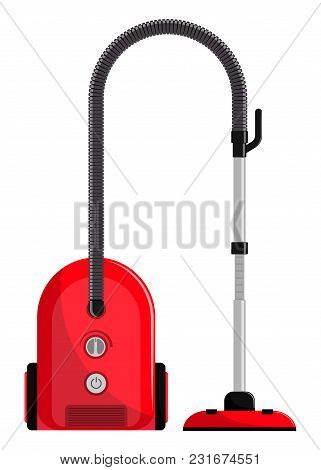 Vacuum Cleaner. Modern Hoover. Flat Style Vector Illustration, Isolated.