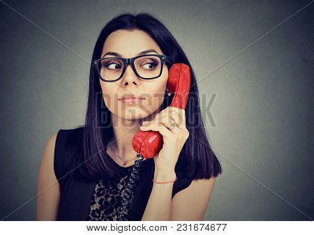 Curious Doubtful Woman Has An Interesting Telephone Call