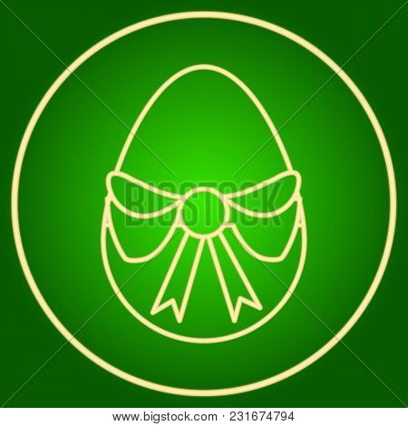 Egg With A Bow In The Neon Circle. Easter. Neon Icon. Neon Sign. Effect Of Neon Glow. Vector Image.