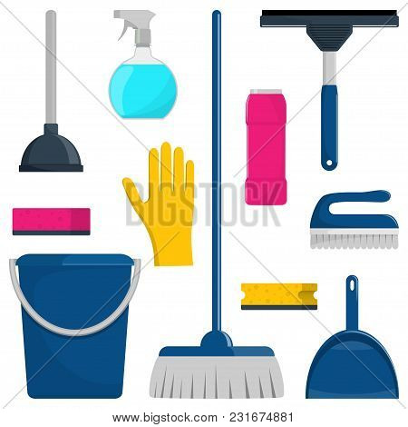 Set Of Cleaning Tools And Detergents Isolated On White. Vector Illustration
