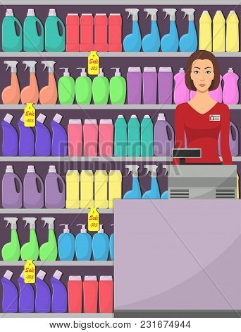 The Cashier At The Supermarket, Shop Assistant, Cash Register, Shelves With Household Chemicals In S