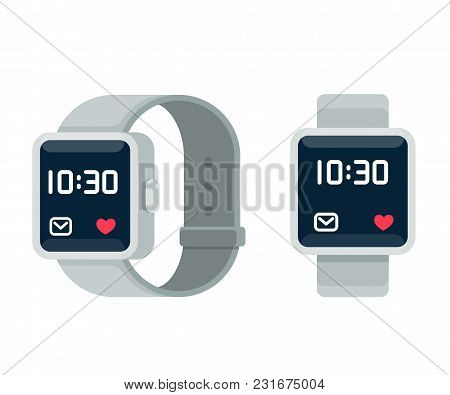 Smart Watch Illustration, Flat Cartoon Vector Style Design. Modern Wearable Device, Touchscreen Tech
