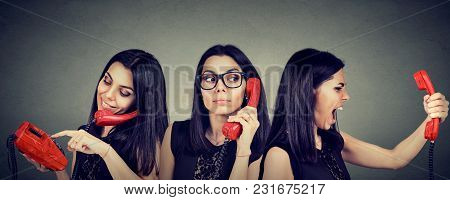 Young Woman Dialing Number On Vintage Telephone Curiously Listening And Getting Angry Screaming On T