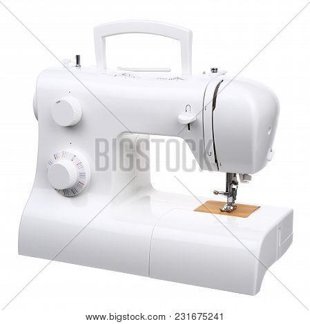 Sewing Machine White On White Background Isolation